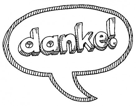 Hand-drawn vector drawing of a Danke! (Thank You!) German Text Speech Bubble. Black-and-White sketch on a transparent background (.eps-file). Included files are EPS (v10) and Hi-Res JPG.